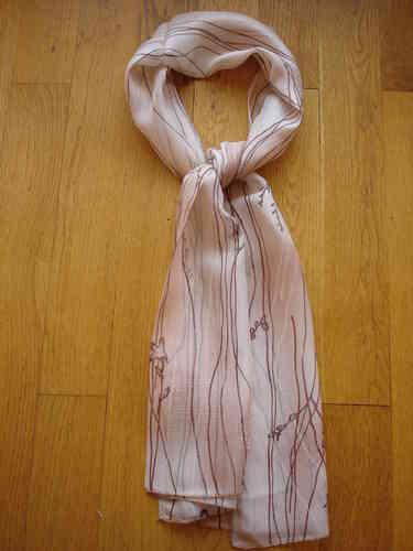 dd5e57b9f8a4 Echarpe MARC ROZIER en mousseline de soie ombrée beige rosé et marron