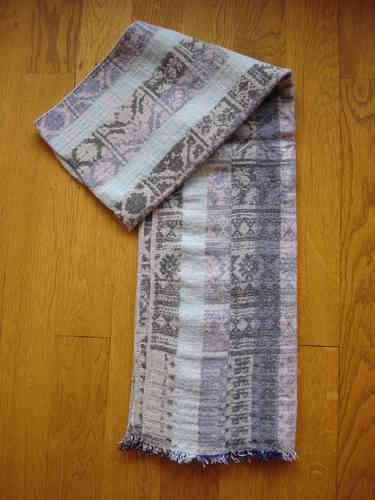 BON PLAN - Longue écharpe rayée bleue, mauve et grise en laine, coton, 2f96c923d02