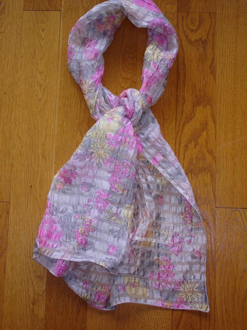bon service Nouvelle achats Echarpe foulard en mousseline de soie imprimée seersucker MARC ROZIER gris,  jaune et rose