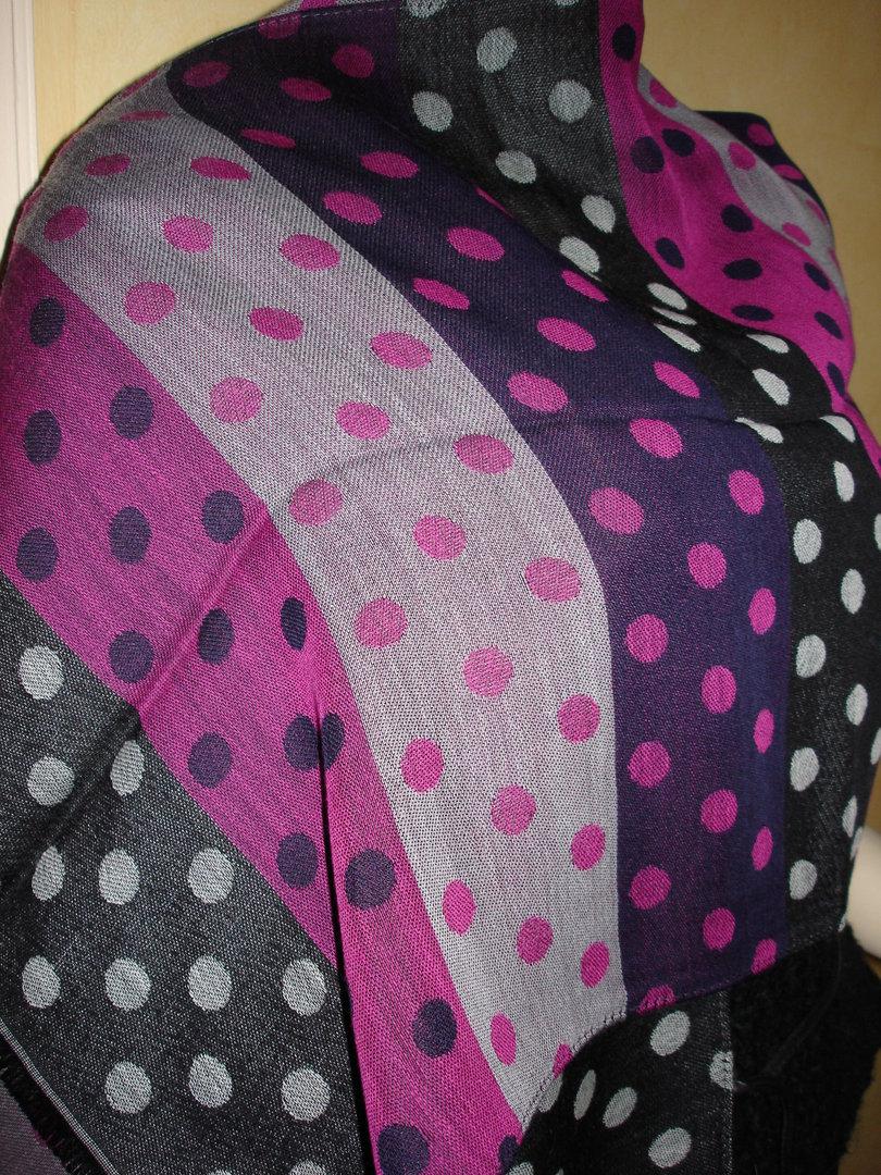 901f8cb26d12 Longue écharpe à pois MARC ROZIER en laine et soie noire, grise, rose tyrien