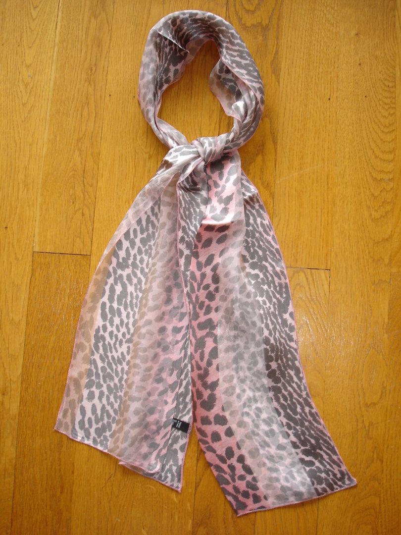 artisanat exquis choisir le dernier meilleur choix Foulard en mousseline de soie bandes satin MARC ROZIER rose et taupe