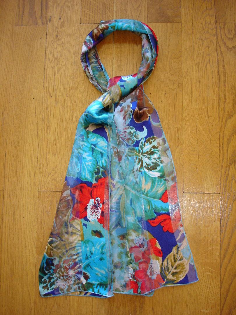 vente usa en ligne jolie et colorée prix pas cher Foulard en mousseline de soie bandes satin MARC ROZIER turquoise, bleu  electrique