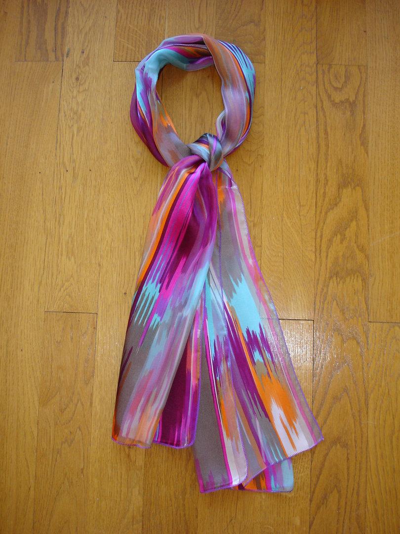 rétro vêtements de sport de performance vente en ligne Foulard en mousseline bandes satin MARC ROZIER rose tyrien, violette, mauve